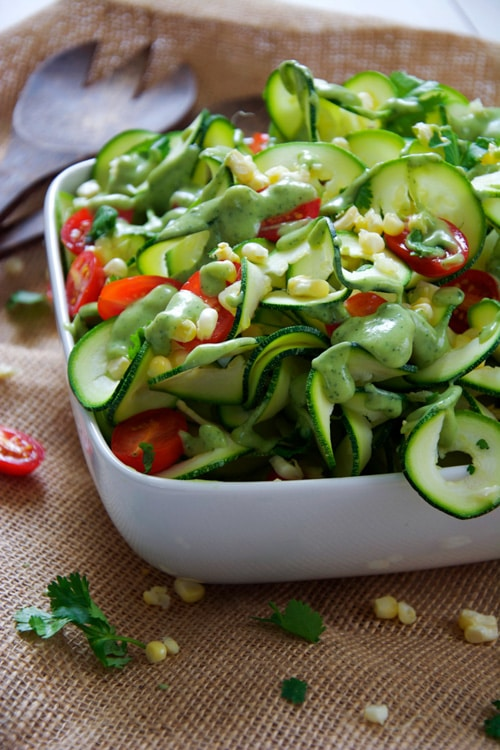 Sweet Corn, Cherry Tomato and Zucchini Salad with Avocado Ranch Dressing | The Housewife in Training Files