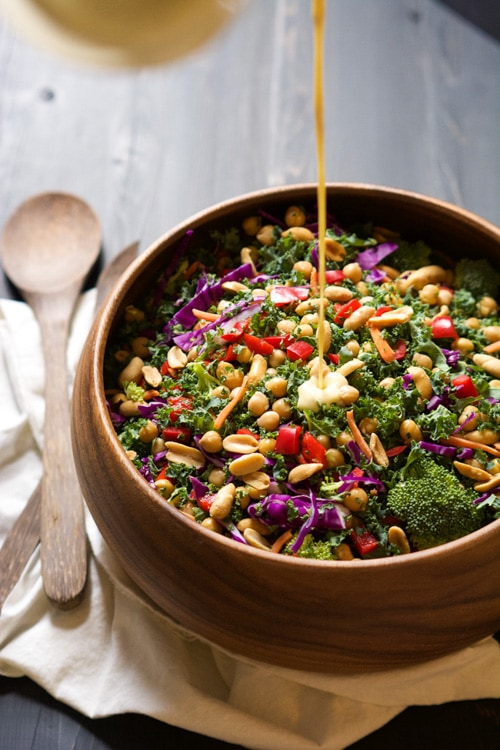 Rainbow Power Kale Salad with Peanut Dijon Dressing | The Housewife in Training Files