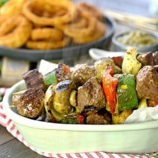 Steak and Vegetable Skewers with Cilantro Pesto