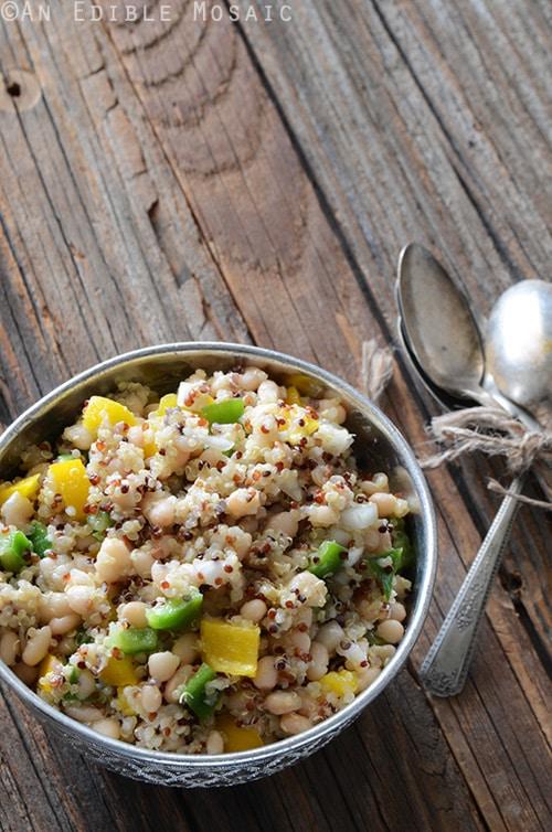 Tri Color Quinoa, White Bean and Bell Pepper Salad | An Edible Mosaic