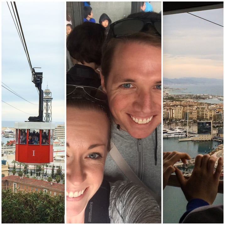 riding the port cable car in Barcelona