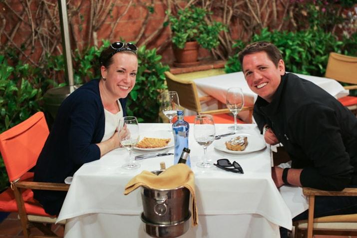 enjoying dinner in Barcelona