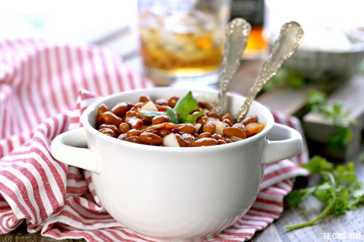 Bourbon Bacon Baked Beans! These are a true treat for any BBQ! The perfect side dish the entire family will love!