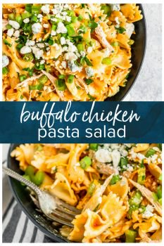 Buffalo Chicken Pasta Saladis the perfect BBQ side dish! I love the classic Buffalo Chicken flavors, so adding that into a pasta salad recipe is such a great combo. It's just the right amount of spice and heat to add to any summertime spread. This Easy Pasta Salad Recipe is so unique and delicious!