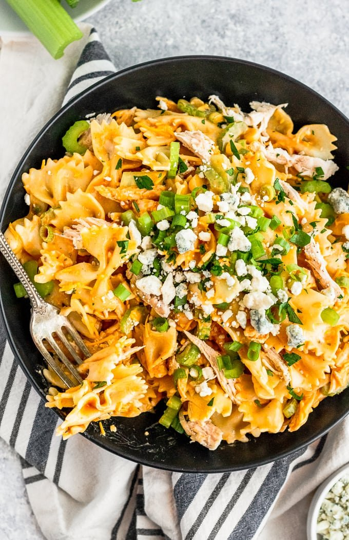 fork in buffalo chicken pasta salad