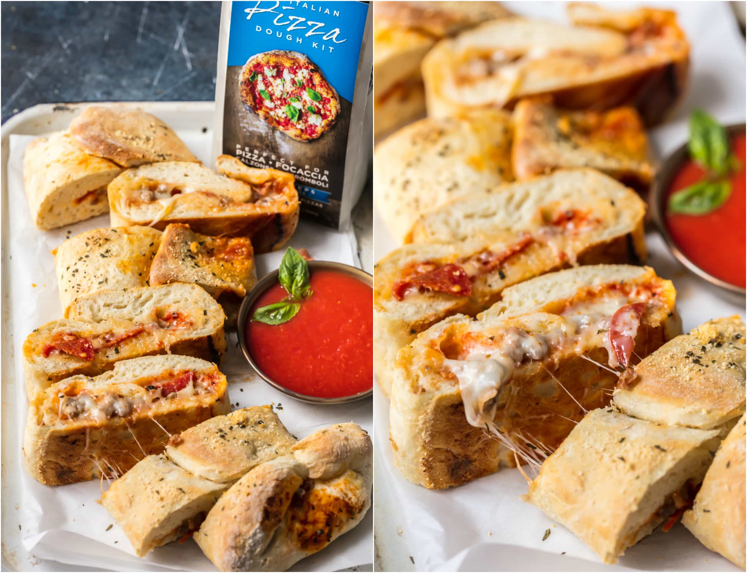 This EASY Stromboli Recipe is one of our go-to weeknight meals the entire family LOVES. Meat Lovers Stromboli is stuffed with juicy sausage, pepperoni, and bacon and loaded with cheese. The crust bakes up crispy on the outside and fluffy on the inside for the ultimate and perfect Stromboli!