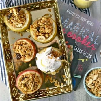 Granola Baked Apples, a healthy and delicious way to treat yourself! TASTES LIKE APPLE PIE! Make in a slow cooker! Win Win!