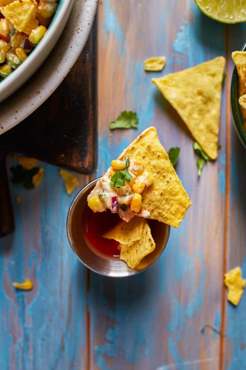 chip with street corn dip