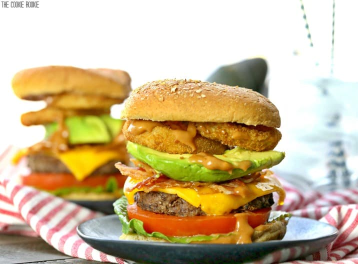 two cowboy burgers on plates