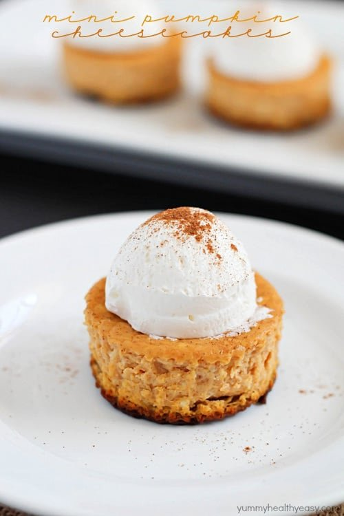 Mini Pumpkin Cheesecakes | Yummy Healthy Easy