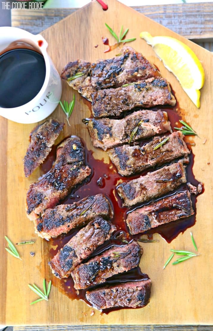 Seared New York Strip Steak with Red Wine Balsamic
