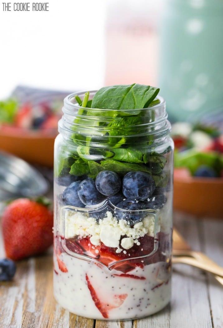 Salad in mason jar