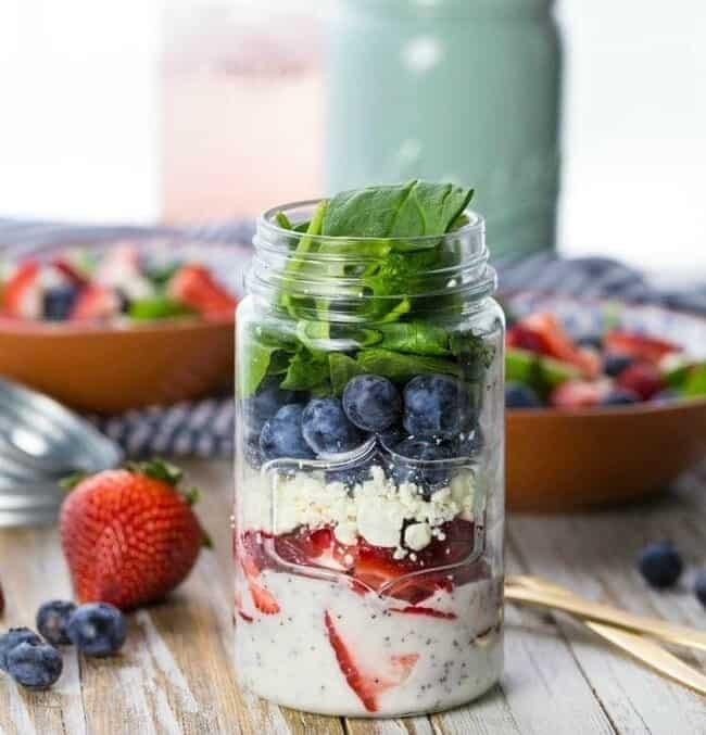 mason jar salad on a table