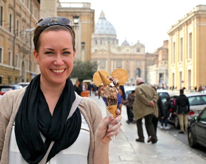woman holding cone of gelato