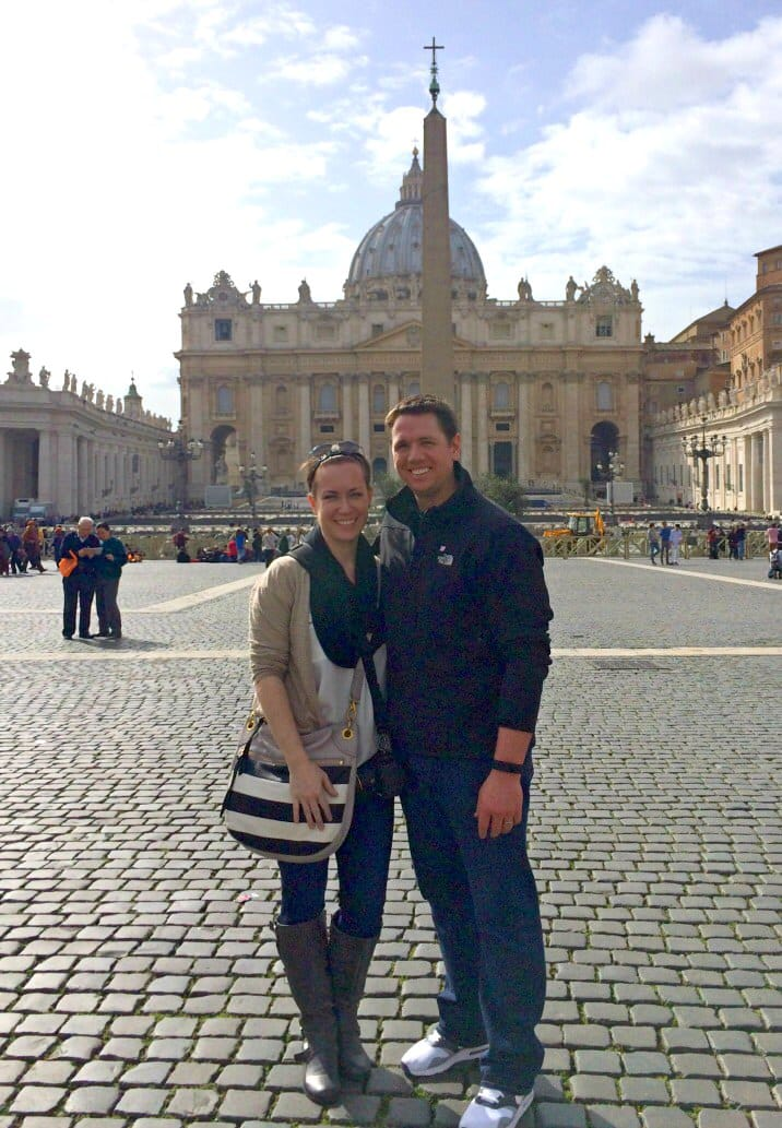 Couple posing in vatican city