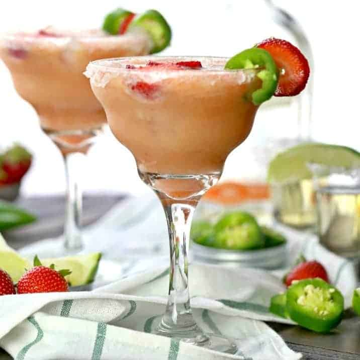 Skinny Strawberry Jalapeno Margarita