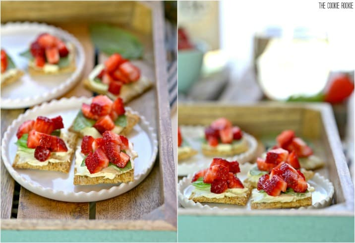 Strawberry Mascarpone Triscuit Bruschetta with Basil! Easy appetizer perfect for wine pairing! Delicious and simple appetizer or dessert!