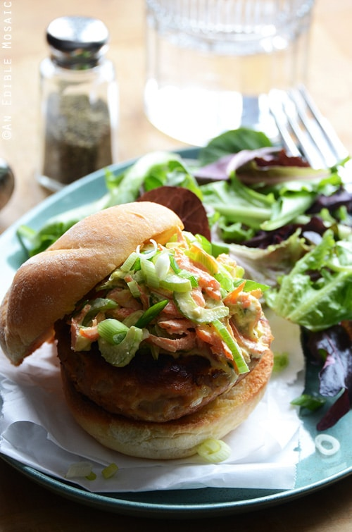 Buffalo Chicken Burgers with Spicy Blue Cheese Celery Slaw | An Edible Mosaic