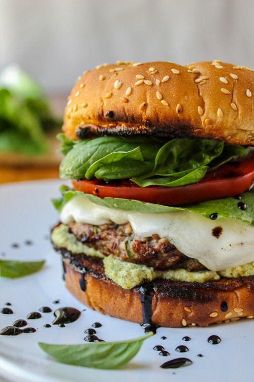 Caprese Burger with Artichoke Pesto Sauce | The Food Charlatan