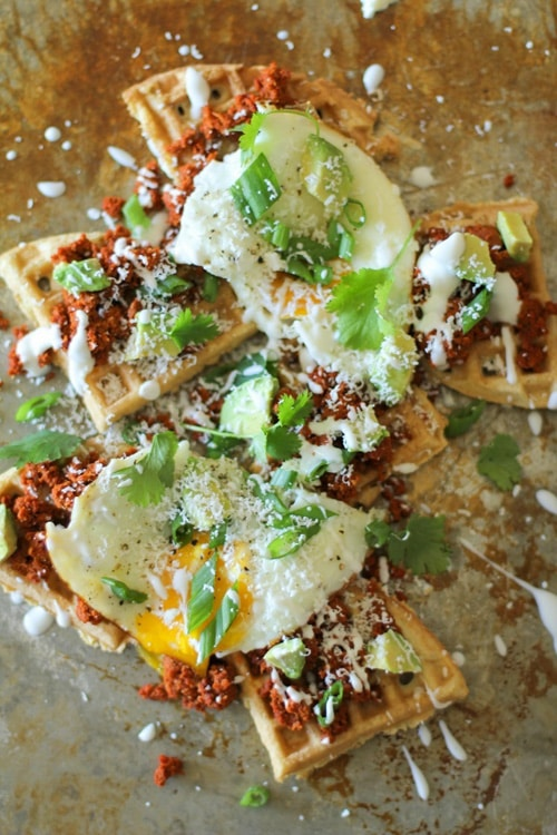 Chorizo Breakfast Waffle Nachos | The Roasted Root