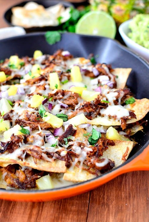 Hawaiian Pulled Pork Skillet Nachos with Pineapple Guacamole | Iowa Girl Eats