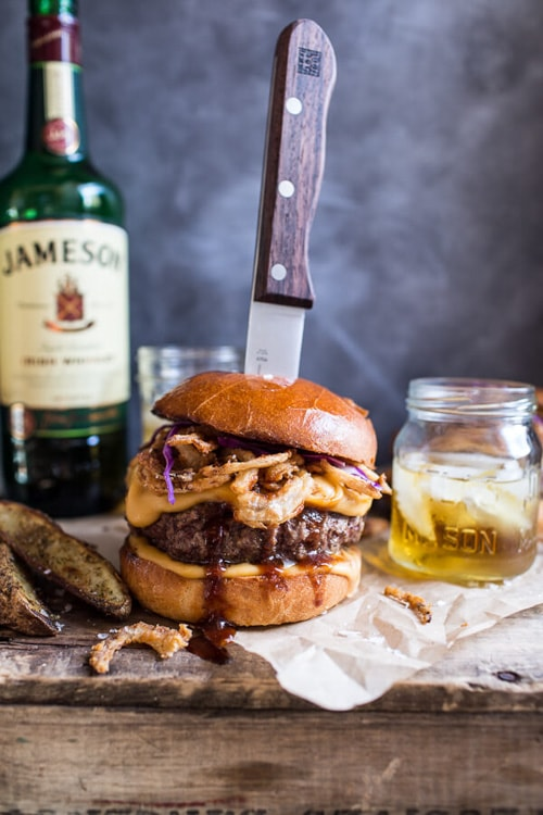 Jameson Whiskey Blue Cheese Burger with Guinness Cheese Sauce & Crispy Onions | Half Baked Harvest