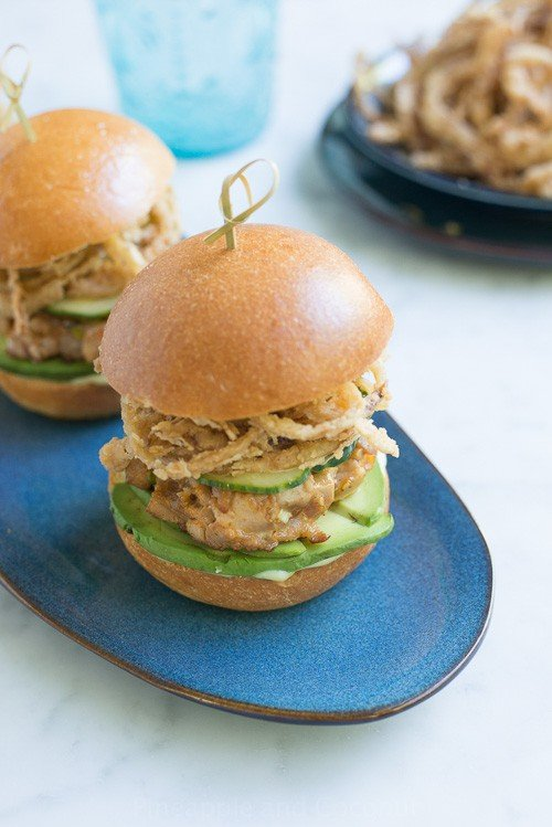 Spicy Ahi Tuna Sliders with Crispy Maui Onion Strings | Pineapple and Coconut