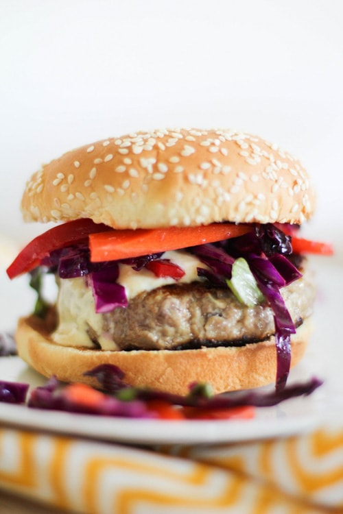 Thai Turkey Burgers with Curry Yogurt Sauce | The Roasted Root