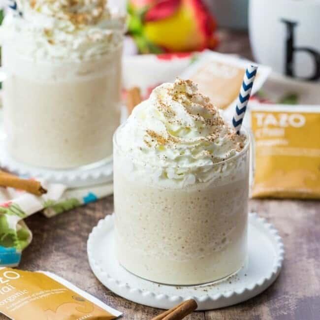 chai tea milk shake with a straw