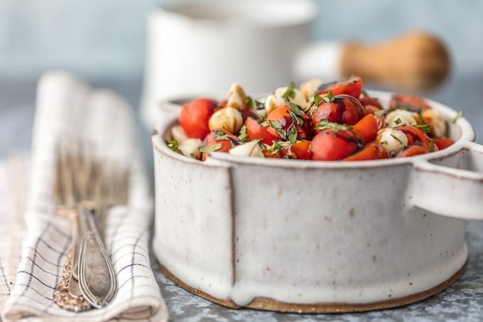 bowl of chopped caprese salad