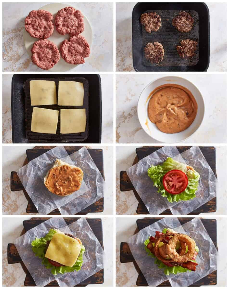 step by step photos for how to make cowboy burgers