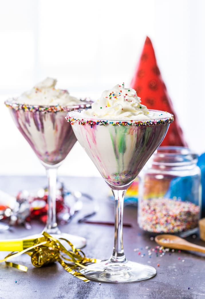 Funfetti Cake Batter Martinis on a table
