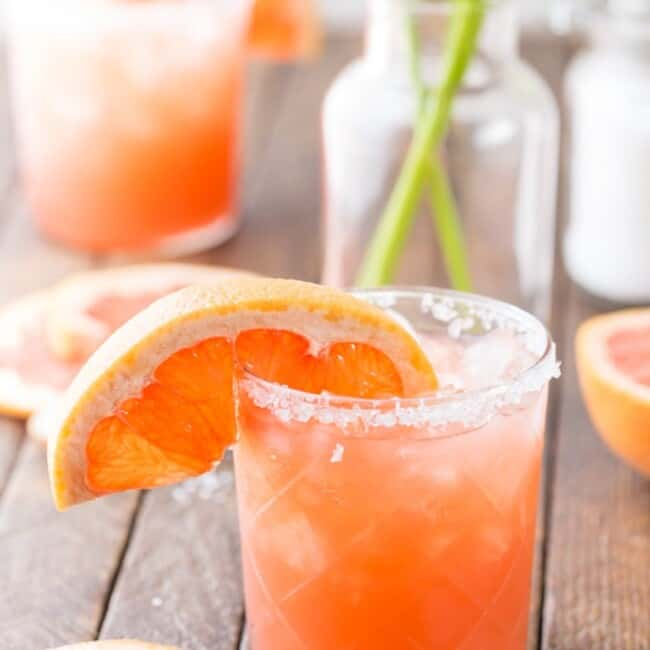 Grapefruit Salty Dog Cocktail on table