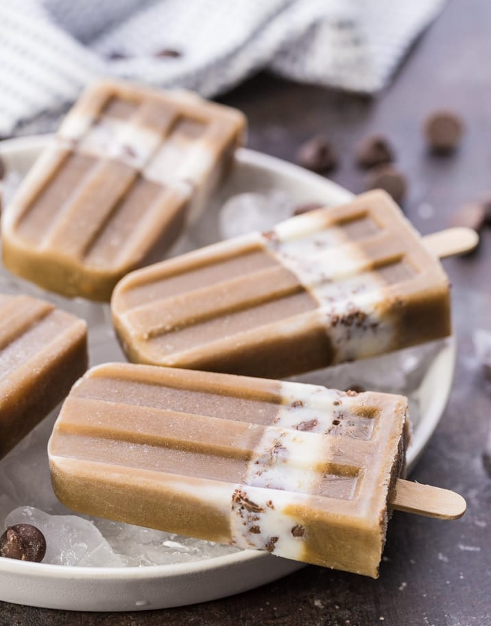 Mocha Cream Popsicles, my favorite way to cool off in the Summer heat! Caffeine, chocolate, and ice cream combined...what could be better??