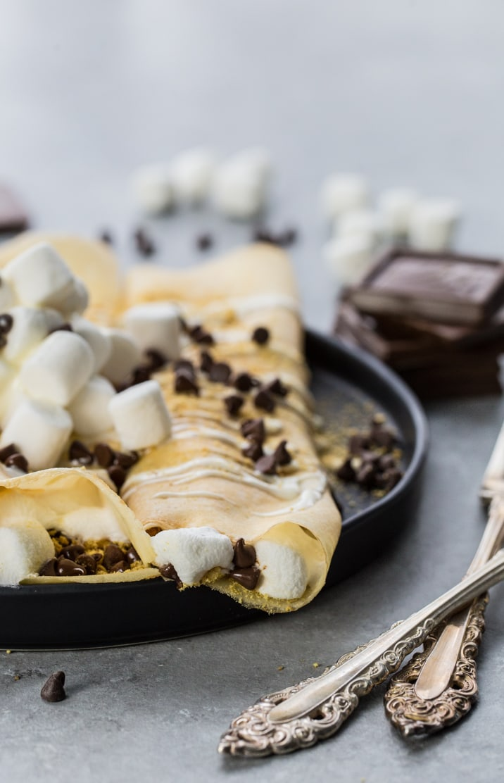 crepes with marshmallows, chocolate chips, and graham cracker crumbs