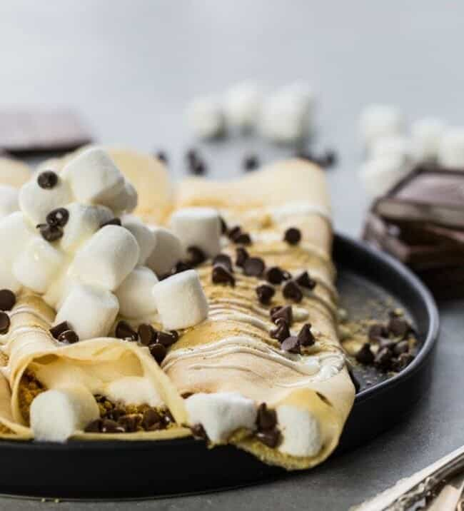 Loaded S'more Crepes on plate