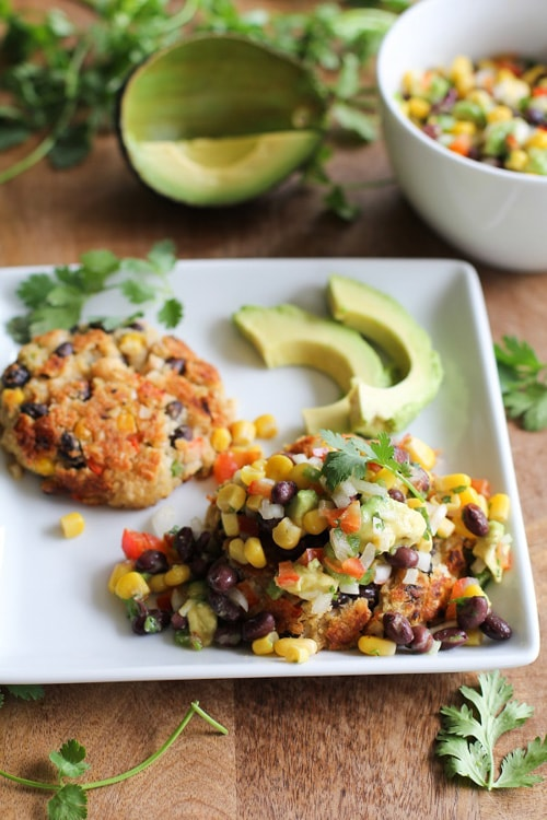 Southwest Veggie Burgers with Black Bean and Corn Salsa | The Roasted Root