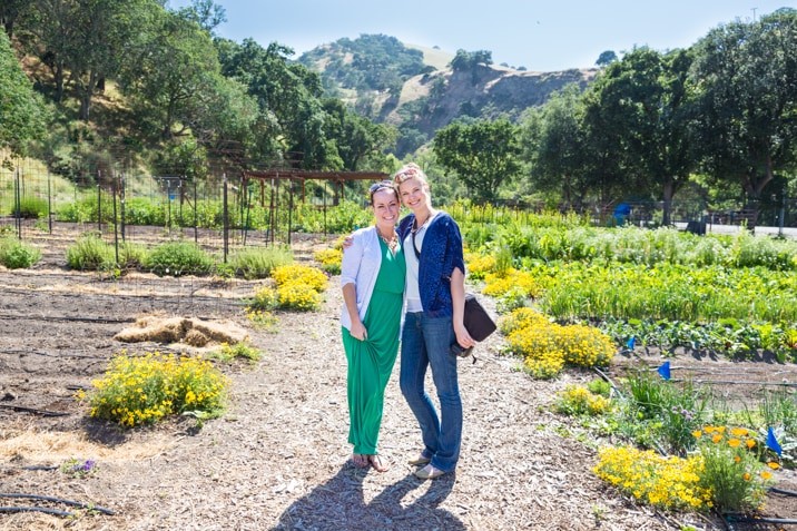 Blogger Becky Hardin and a friend at Wente vineyards, livermore valley california