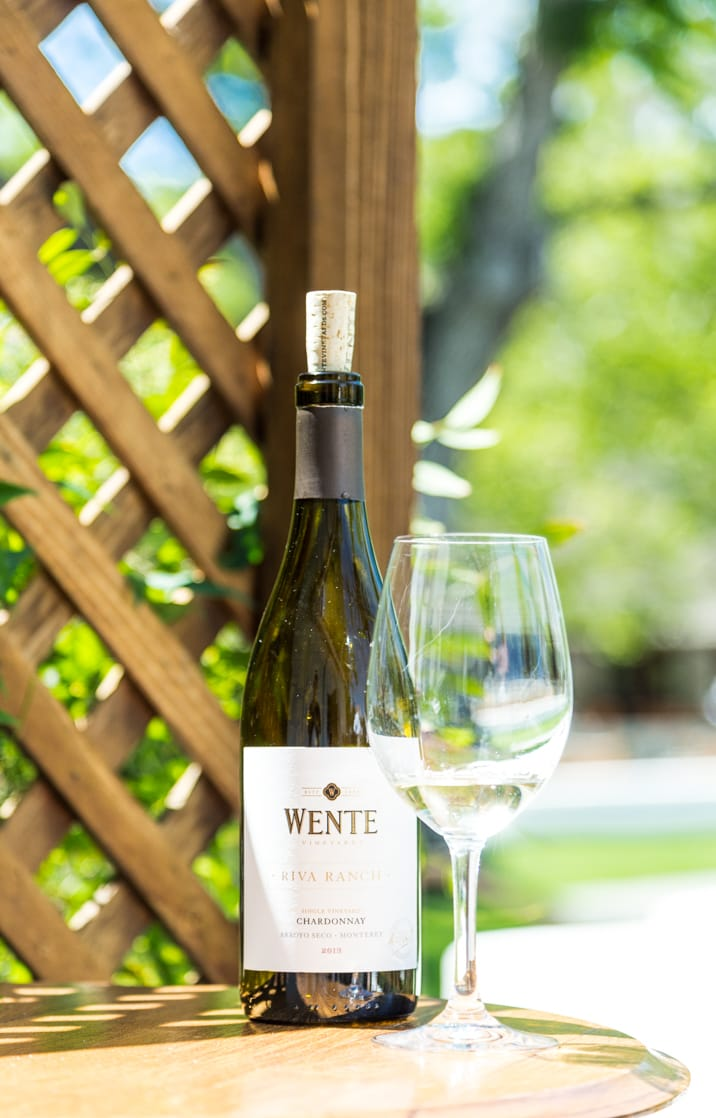 bottle of wine from wente vineyards, livermore valley california