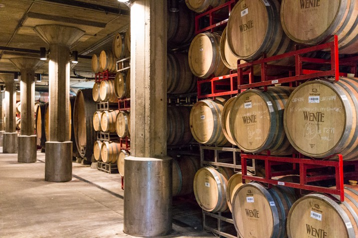 barrels of wine at wente vineyards, livermore valley california