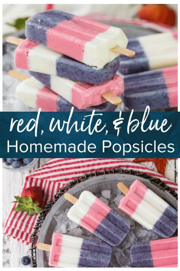 Red White and Blue Popsiclesare the perfect cute, festive, sweet treat for the 4th of July! These fun and tasty treats are so cute and easy to make. These colorful Smoothie Pops are healthy too! I used Greek Yogurt, fresh fruit, and raw organic sugar to keep them fresh and light, while still being super yummy. HealthyHomemade popsicles are so much fun for summer!