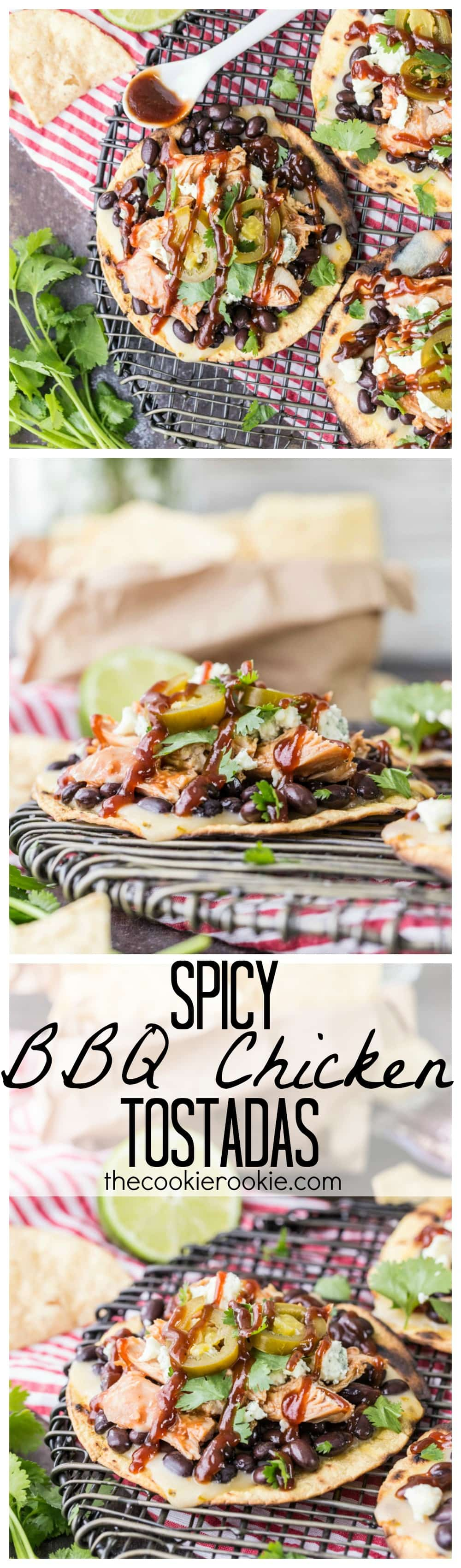 Spicy BBQ Chicken Tostadas, the perfect EASY Summer meal on the grill or inside in the broiler. Black beans, chicken, jalapeños, cilantro, cheese, and of course BBQ sauce! Adults and children ALL LOVE THESE!