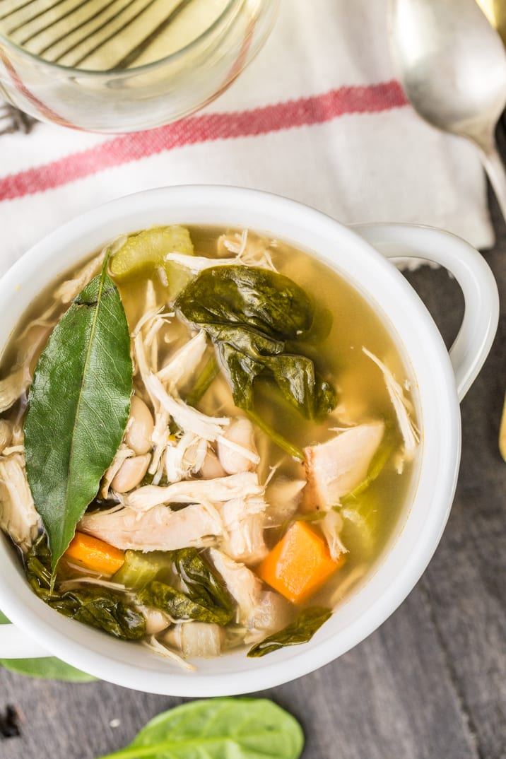 It doesn't get easier or more delicious that Crockpot Tuscan Chicken Soup! This healthy soup is made in just 4 hours (or 8 hours on low) in your slow cooker!! Amazing!