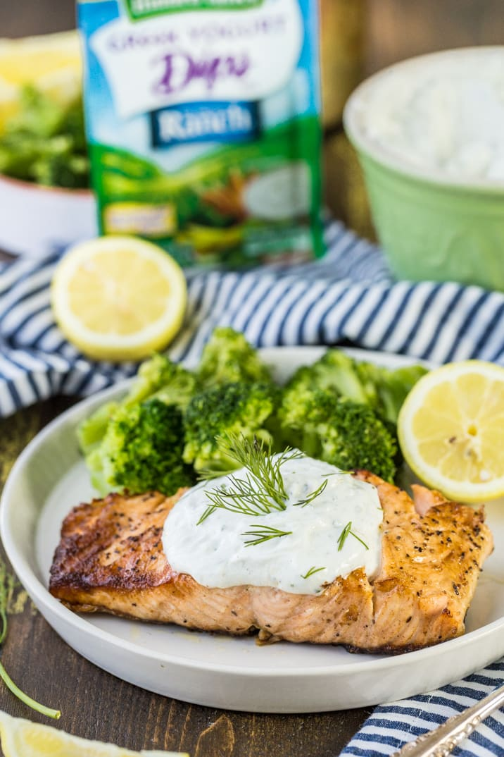 Greek Yogurt Ranch Salmon, a healthy and easy DELICIOUS dinner that anyone can make in minutes. OUR FAVORITE meal on the grill!