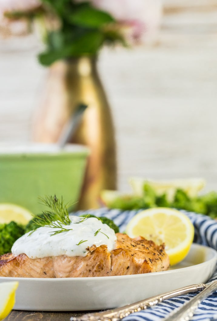 baked salmon with greek yogurt ranch topping