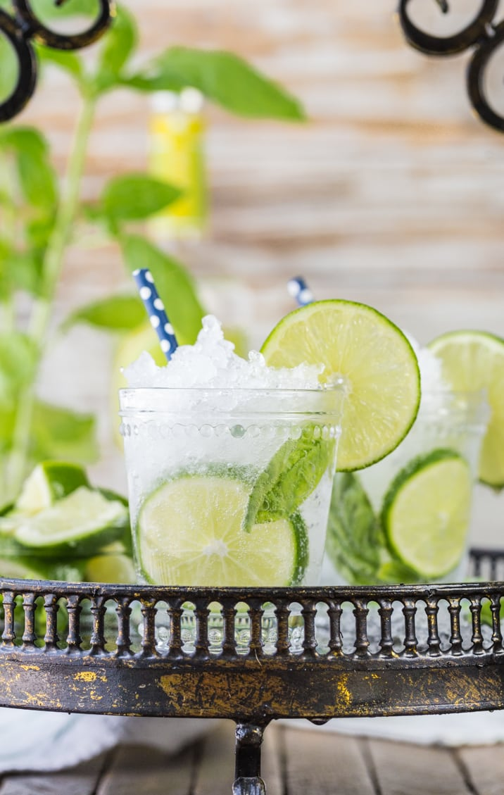 Italian Mojitos! Such a fun twist on an old favorite! Basil + Lime + Vodka! Delicious, fresh, and super quick and easy.