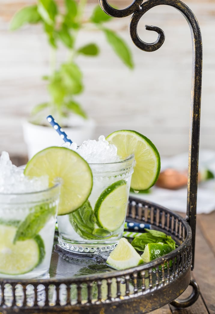 italian mojitos on a tray with limes