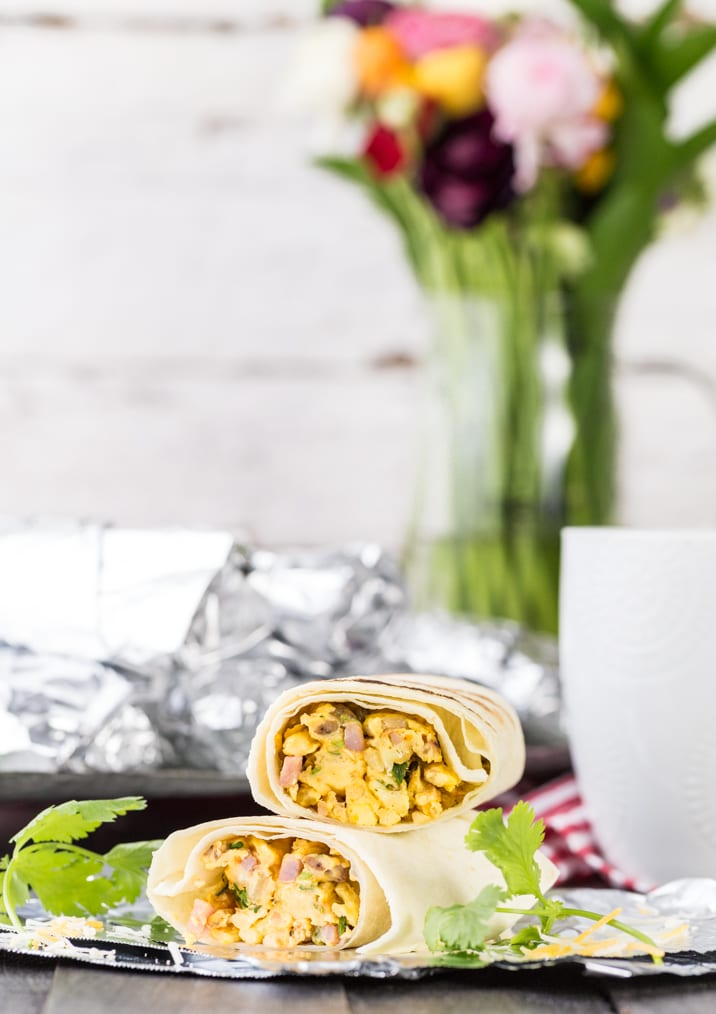 southwest breakfast burritos filled with egg and other ingredients
