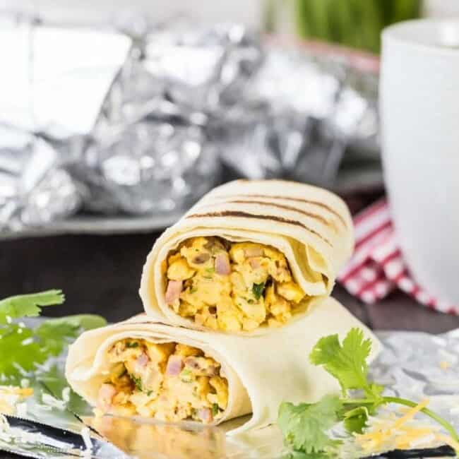 SouthwestBreakfast Burritos cut in half and stacked on each other
