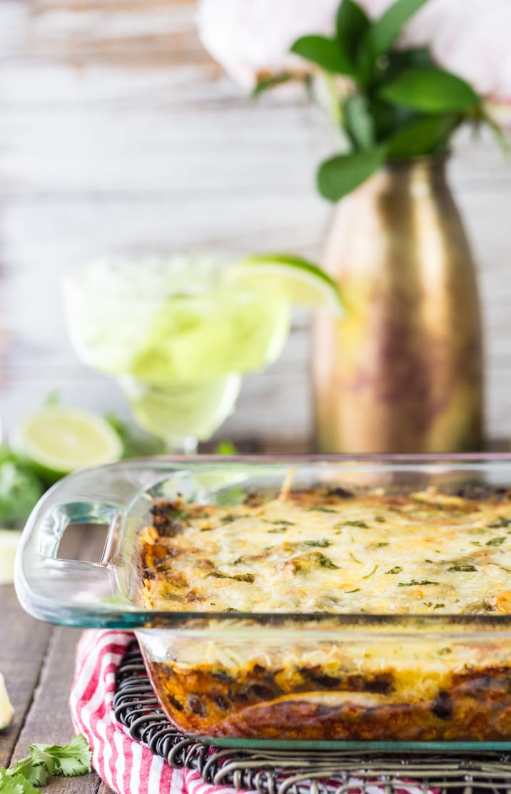 This Chicken Mexican Lasagna Bake is relatively guilt-free and SO delicious! Perfect for a weeknight meal with the entire family.